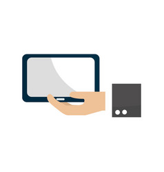 tablet technology business in the hand vector image