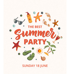 Summer party text with beach elements sunscreen vector