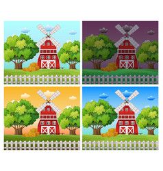 Farm scenes at different time of day vector