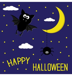Bat and spider starry night moon halloween card vector