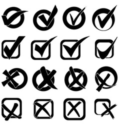 Tick cross icons set vector