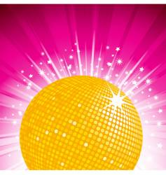 Orange disco ball party background vector