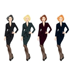 Set of beautiful business women in suits vector