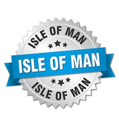 Isle of man round silver badge with blue ribbon vector