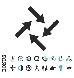 Centripetal arrows flat icon with bonus vector