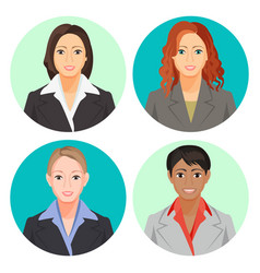 avatar businesswoman portraits in four circles vector image