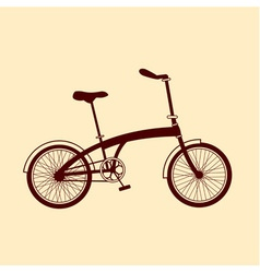 Brown bicycle on yellow background vector