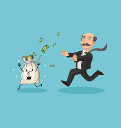 businessman chasing money bag vector image