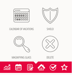 Calendar magnifying glass and delete icons vector