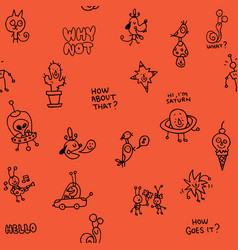 Cartoon characters doodle seamless pattern vector