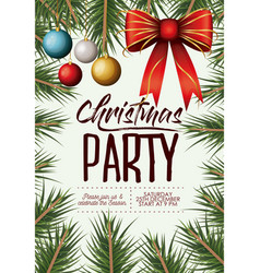 christmas party card with colorful garlands and vector image vector image