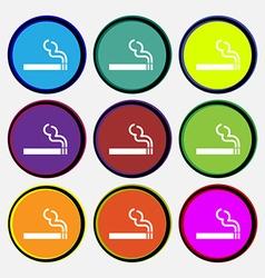 Cigarette smoke icon sign nine multi colored round vector