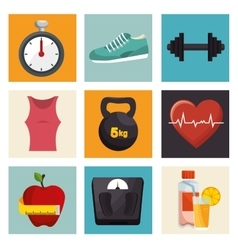Collection fitness sport equipment icons vector