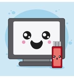 computer and usb icon Kawaii and technology vector image