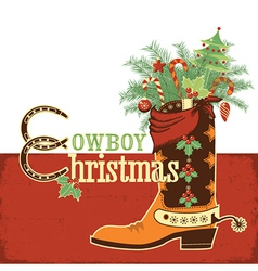 Cowboy christmas boot vector