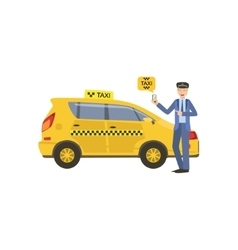 Driver showing a smartphone taxi service vector