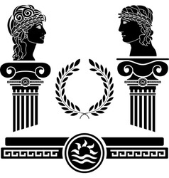 Greek columns and human heads vector