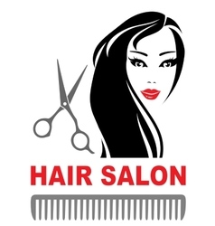 hair salon icon with girl and scissors vector image vector image