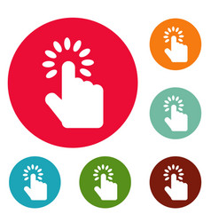hand cursor icons circle set vector image