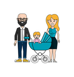 happy couple with their baby icon vector image