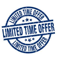 Limited time offer blue round grunge stamp vector