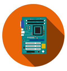 motherboard and mainboard icon in flat style vector image