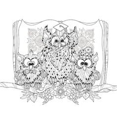 Old owl on tree branch with small owls vector