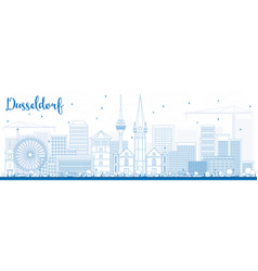 outline dusseldorf skyline with blue buildings vector image