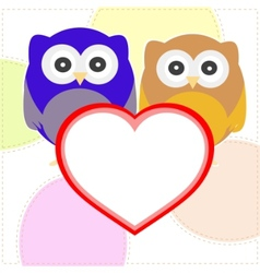 owls with valentines vector image
