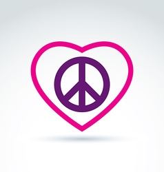 Peace and love theme - antiwar and love icons vector image