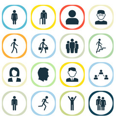 people icons set collection of gentleman happy vector image vector image