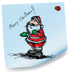 sketch drawing of Santa claus on sticky paper vector image