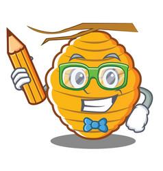 Student bee hive character cartoon vector