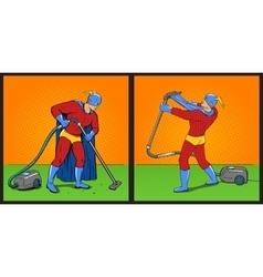 Superhero with vacuum cleaner pop art vector image vector image