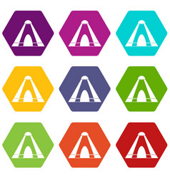 Tepee icon set color hexahedron vector