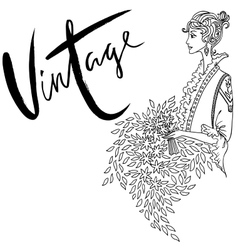 Uncolored Beautiful fashion woman Retro style vector image vector image