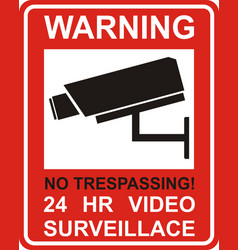 Warning sticker for security alarm cctv camera vector