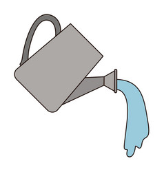 White background with watering can with thick vector