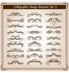 Swirled romantic calligraphic elements calligraphy vector