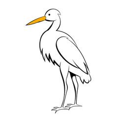 White crane icon cartoon vector