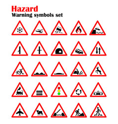 Set road hazard warning signs road signs warn vector