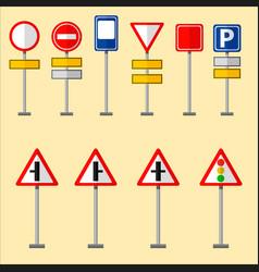 Road symbols traffic signs graphic elements vector