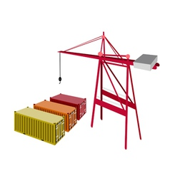 Three freight container being with a crane vector