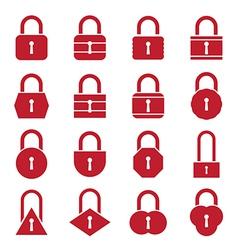 Lock icon set red vector