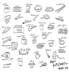 Objects in kitchen icon set vector