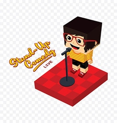 Stand up comedy isometric block cartoon vector