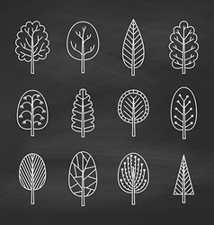 Set of chalk trees on the chalkboard vector image