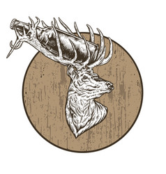 Beer of the deer white and wood color vector