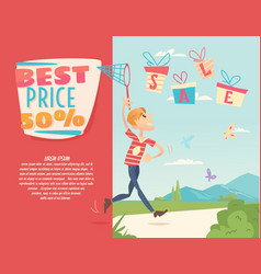 Boy with a net catching gifts vector