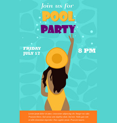 Bright invitation template for the pool party with vector